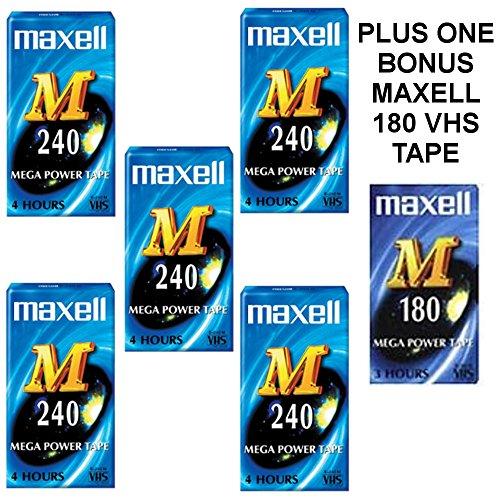 Box mit 5Maxell M 240VHS blanko VHS Video Tape Kassetten Plus 1Bonus Maxell M 180Tape