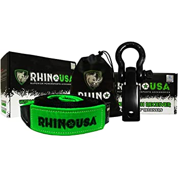 Rhino USA Combo Shackle Hitch Receiver & 20' Tow Strap, Best Towing Accessories for Trucks & Jeeps, Connect Your Rhino Tow Strap for Vehicle Recovery to This 31,418lbs Capacity Reciever