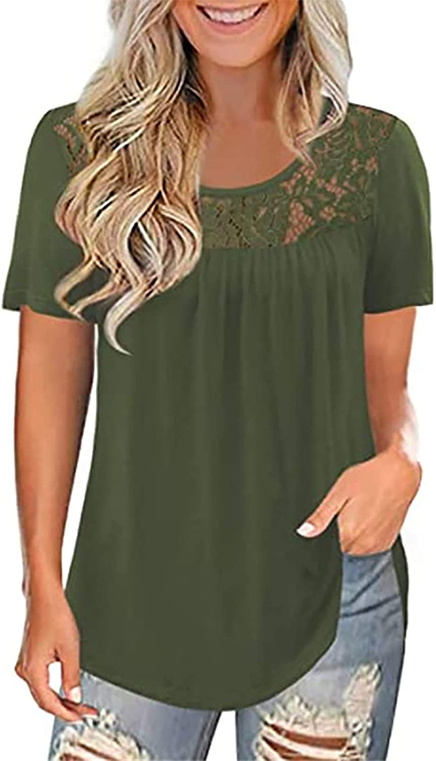 AODONG Short Sleeve Tops for Women, Women's Plus Size Summer Tops Lace Pleated Shirts Casual Loose Blouses Tunic Tops