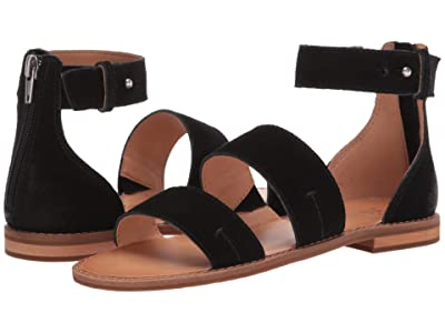 FRYE AND CO. Evie 2 Band Sandal (Black Suede) Women