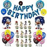 Sonic Decoración para Fiestas de Cumpleaños con Globos Feliz Cumpleaños Tarjetas de Tarta Adornos de Casa para Fiestas Fiesta Temática Erizo Dibujos Animados para Niños Adultos Fans