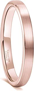 Greenpod 3MM Tungsten Rings for Women Men Rose Gold/Silver Thin Brushed Flat Wedding Band Comfort Fit Size 4-12