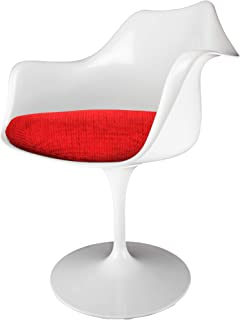 Eero Saarinen White And Textured Red Tulip Style Armchair