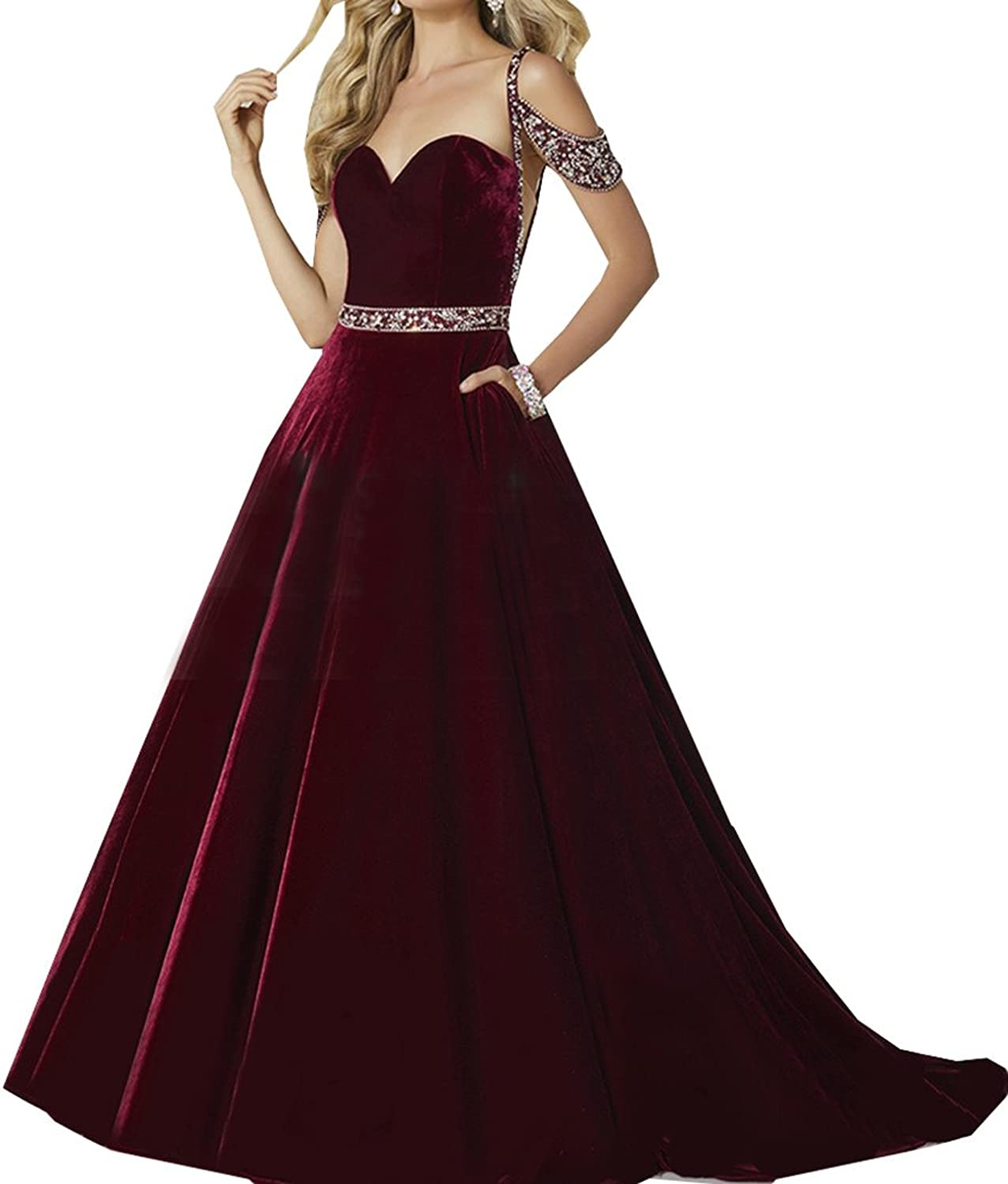 2018 Spaghetti Straps A Line Velvet Prom Dress With Beading Evening Party Dress