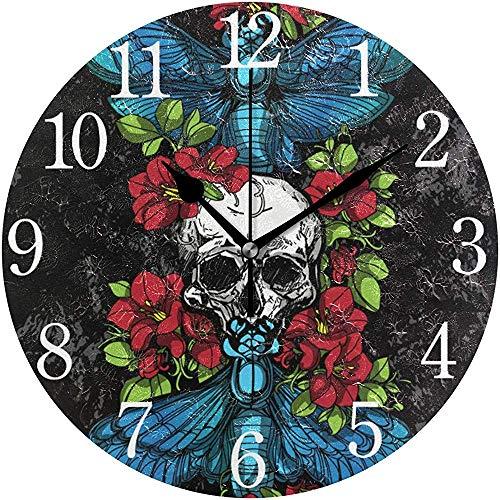 L.Fenn Schedel Vlinders Bloemen Design Ronde wandklok, niet tikken olieverfschilderij Decoratief voor home kantoor School Clock Art