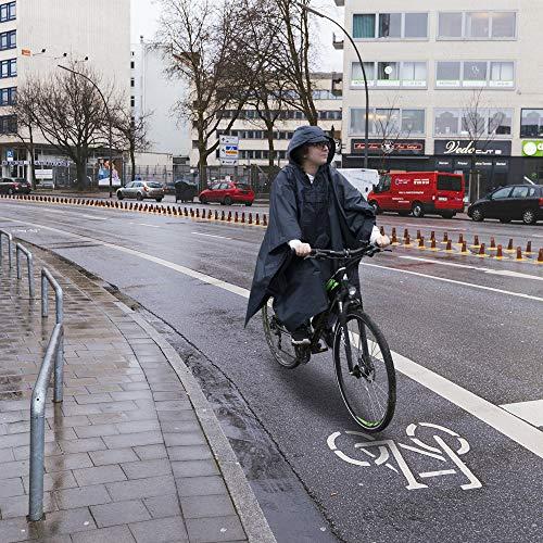 HINRI Fahrrad Regenponcho blau | Unisex (Herren/Damen) + Gratis Tasche | + Gratis Reiseführer – Mit verschließbaren Seiten + Kapuze (blau) - 3