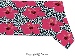 oobon Space Decorations Tablecloth, Tropical Hibiscus Flowers and Leopard Pattern Tropics Botanical Jaguar African Animal, Rectangular Table Cover for Dining Room Kitchen, W60xL104 inch