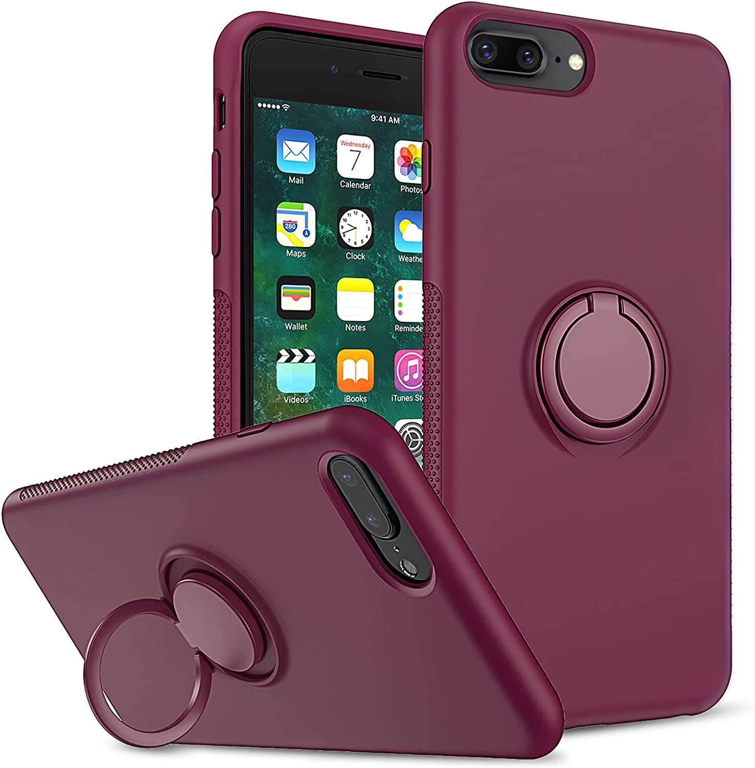 LeYi Compatible with iPhone 8 Plus Case, iPhone 7 Plus Case, iPhone 6s Plus Liquid Silicone Gel Rubber Case, Soft Microfiber Liner Shockproof Phone Cover for iPhone 6 Plus, Wine Red