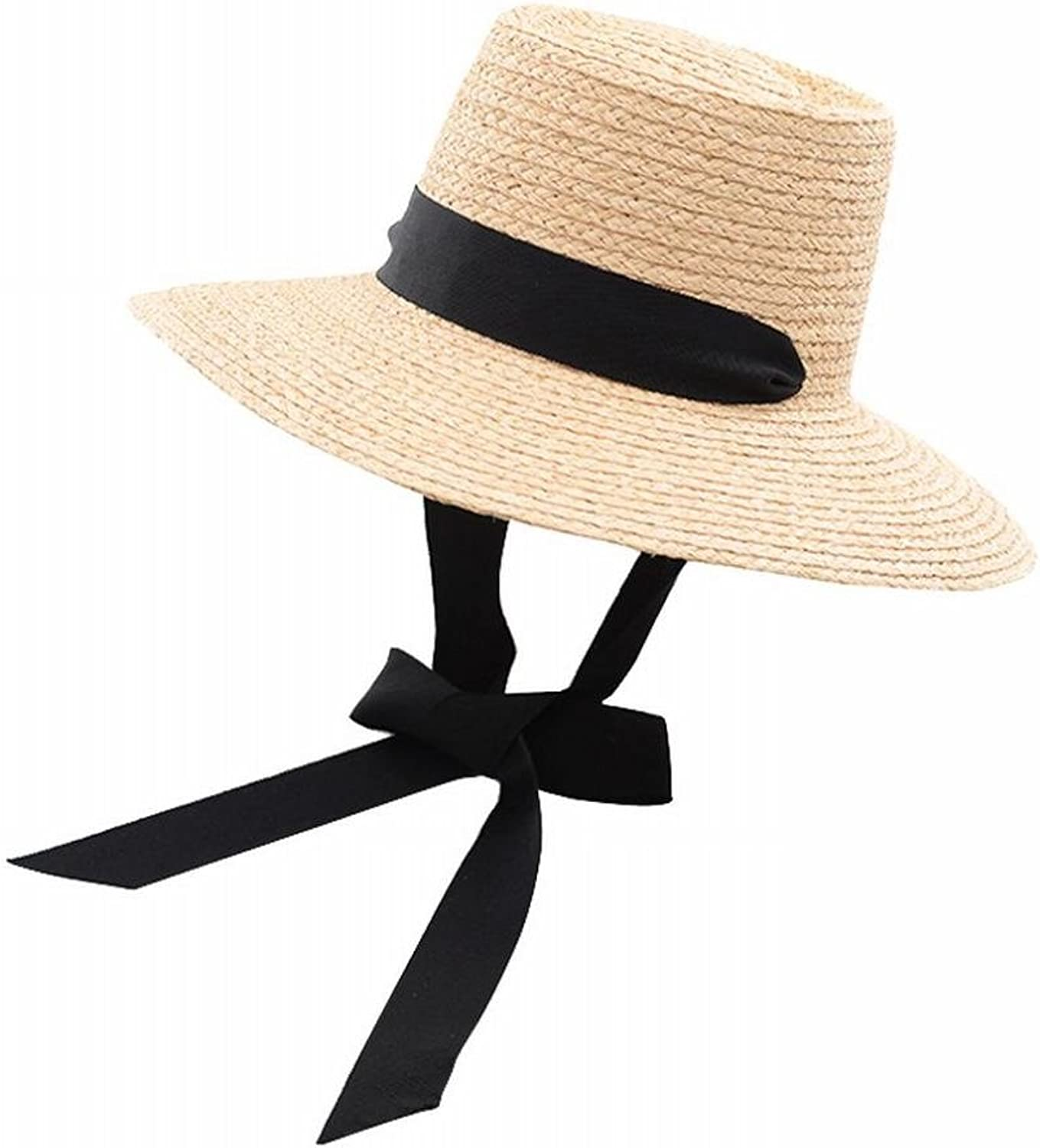 Europe and America Wind Ribbon Bow Tether Hat Ms. Outdoor Tourism Beach Straw hat,A,M SLR
