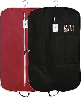 Kuber Industries 2 Pieces Foldable Non Woven Men's Coat Blazer Suit Cover (Black & Maroon) -CTKTC041684
