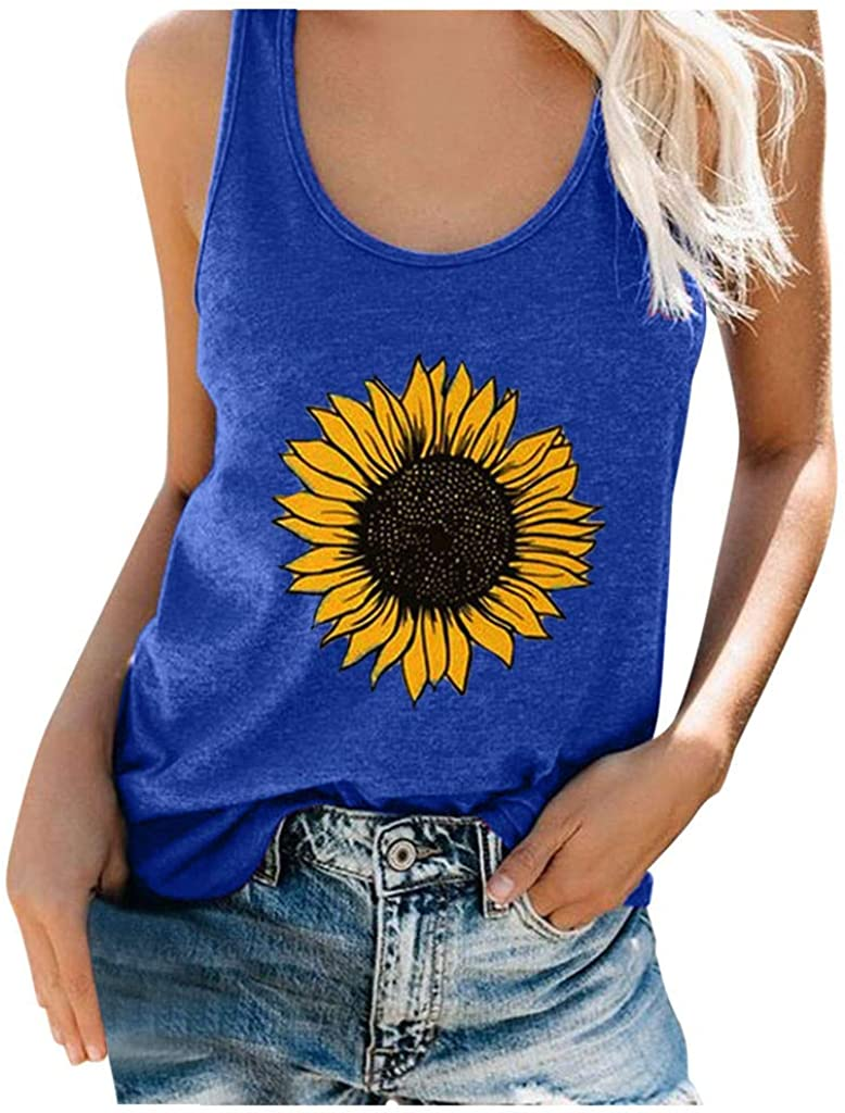 felwors Tank Tops for Women Casual, Womens Sleeveless Summer Loose Fit Sunflower Tee Shirts Vest Tops Tunics Blouses
