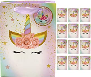 Unicorn Party Favor Bags - Set of 12 - Super Cute Rainbow Pastel Thank You Tags & Ribbon Handles | Perfect for Kids Birthday Party Theme - Fill with Treats, Candy, Supplies, Gifts & Loot.