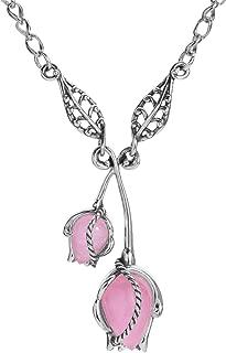 Sterling Silver Pink Jade Gemstone Rosebud Necklace 17 to 20 Inch