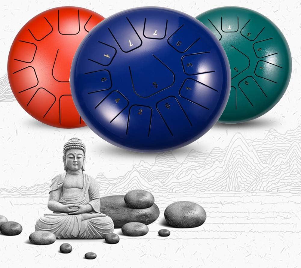 HADMB Steel Tongue Drum,12 Pouces 11 Tons Hand pan Drum pour Le Camping Le Yoga la m/éditation Tongue Tambour