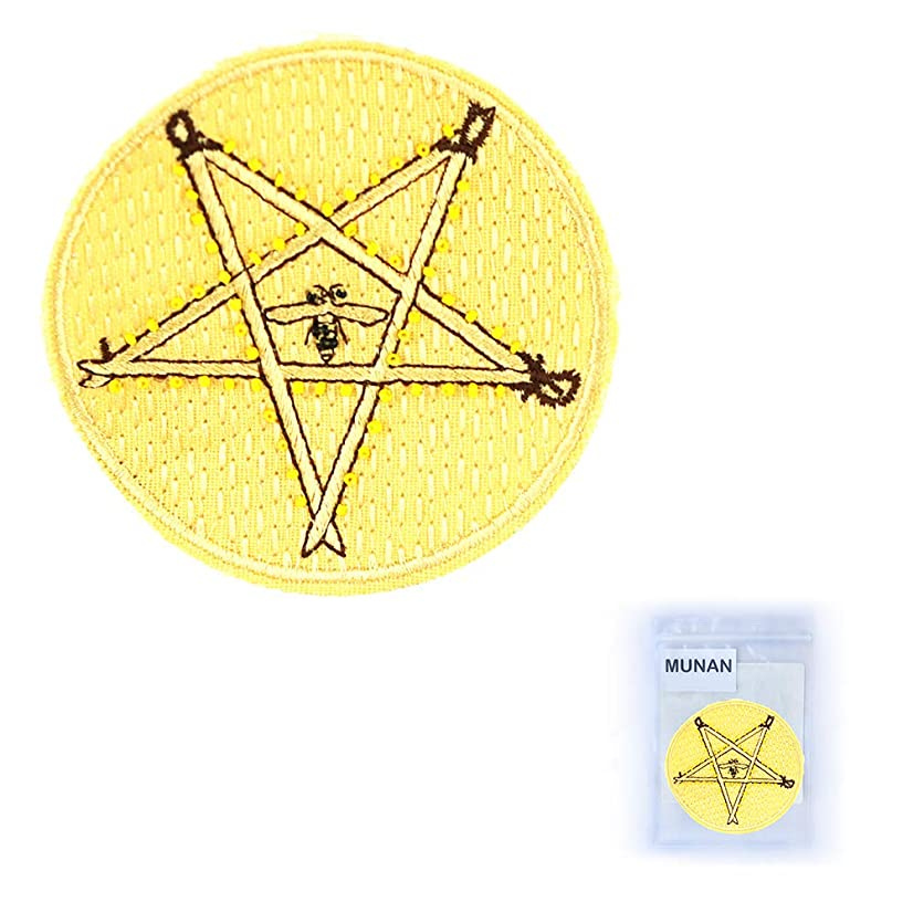 MUNAN Embroidered Patches Handmade - Five-Pointed Star bee Iron On Sewing Badge Applique for Clothes Jacket Jeans Cap