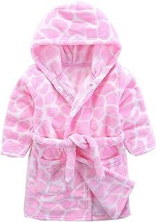 أردية حمام للأولاد والبنات، ملابس نوم بغطاء رأس من الصوف المرجاني الناعم من القطيفة للأطفال