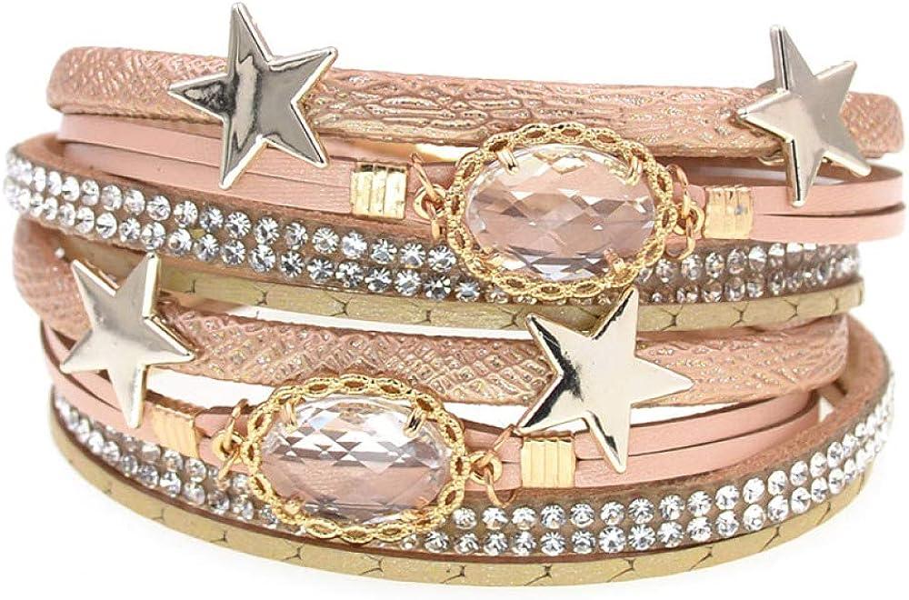Free Shipping Cheap Bargain Gift Multilayer Leather Bracelet Super sale Women Trendy Rhinestone Star Crystal