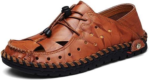 GJLIANGXIE Sandales pour Hommes Chaussures D'été pour Hommes en Cuir, Trou Casual, Chaussures en Cuir Baotou, Sandales à La Mode, Pantoufles, Plage, Angleterre