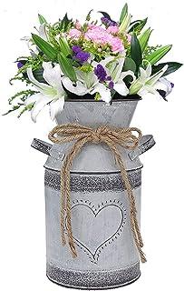 Vase Galvanisé Rustique, minghaoyuan, Vase Cruche Rustique Primitives, Vases à Fleurs en métal Style Shabby Chic pour Mari...
