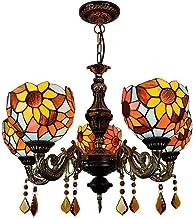 Chandelier American Retro Garden Creative Sun Flower Tiffany Stained Glass Lighting Living Room Restaurant Bar Clubhouse 5...