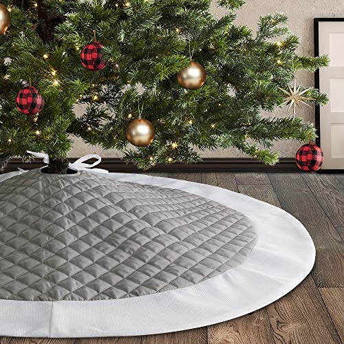 Meriwoods Christmas Tree Skirt 48 Inch, Large Quilted Tree Collar, Country Rustic Indoor Xmas Decorations, Gray & White