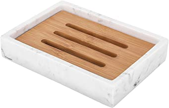 Luxspire Soap Dish Tray, Resin Soap Dish, Bamboo Soap Bar Holder Box for Shower Kitchen Sink, Double Layer Draining Soap C...