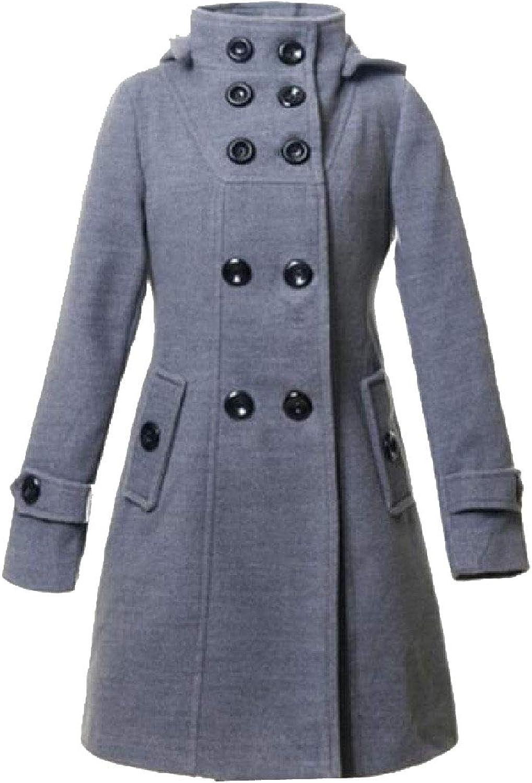 Doanpa Womens Slim Fitting Hooded Woolen Double Breasted Pea Coat Jacket