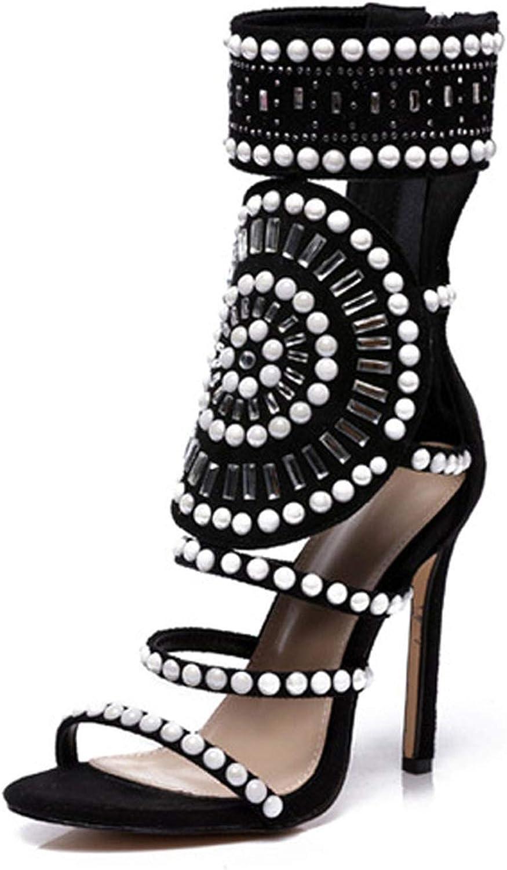 IOJHOIJOIJOIJMO Ethnic Open Toe Rhinestone Design High Heel Sandals Crystal Ankle Wrap Diamond Sandals Black Size 35-42