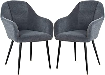 Set of 2 pcs Kitchen Chairs Velvet Padded Seat Metal Legs Non-Slip Retro Dining Chairs with Backrest & Armrests Makeup Stool (Color : Gray, Size : Black Legs)
