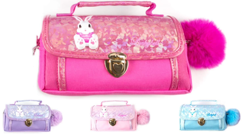 Luckybell - Estuche para lápices para niñas, multifuncional, para cosméticos, maquillaje, papelería, bolsa de hombro con pompón, ideal para regalo de Navidad (rojo): Amazon.es: Oficina y papelería