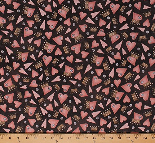 Cotton Hearts Crowns Roses Flowers Pink Hearts on Brown All for Love Princess Valentine's Day Cotton Fabric Print by The Yard (1649-25847-K)
