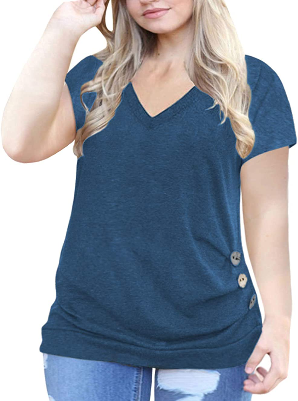VOGRACE Women's Plus-Size Tops Summer Short Sleeve T Shirts Buttons Tunic Tee