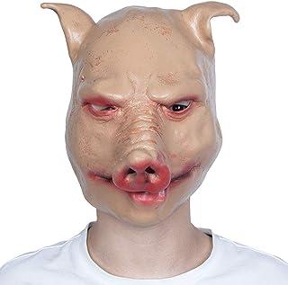 Halloween Animal mask, Adult Horror Latex Headgear, Party Pig Head mask Full face