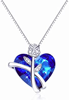 Sterling Silver Heart Necklaces for Women Blue Swarovski Crystals Rose-Flower Jewelry Anniversary Birthday Gift for Daughter Lover Niece Wife Girlfriend Sister Friend