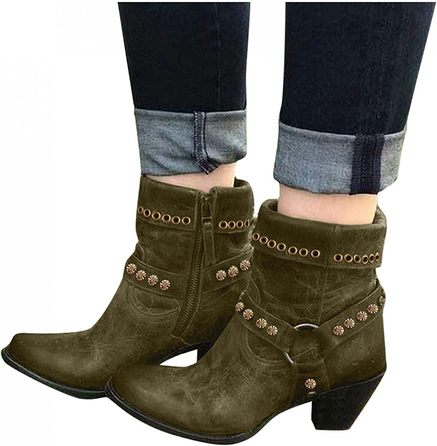 AIHOU Women Sandals Boots for Women Vintage Studded Chunky High