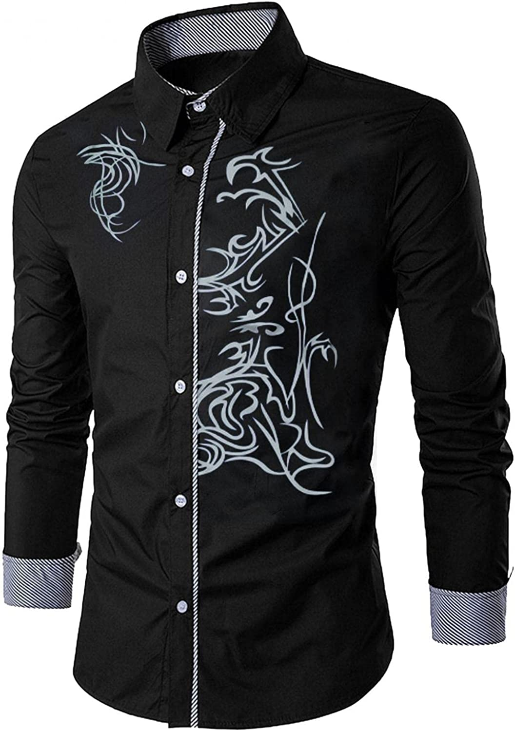 KEEYO Mens Floral Dress Shirts Long Sleeeve Paisley Printed Button Down Formal Work Shirts Casual Slim Fit Western Shirts