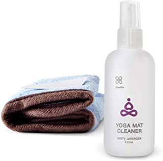 Yoga Mat Cleaner - Herb Scent, Safe for All Mats, No Sticky Or Slimy Residue - Cleans, Restores, Refreshes + Free Microfib...