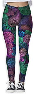 XMKWI Color Paisley Women Power Flex Gym Yoga Pants Workout Tights Leggings Trouser