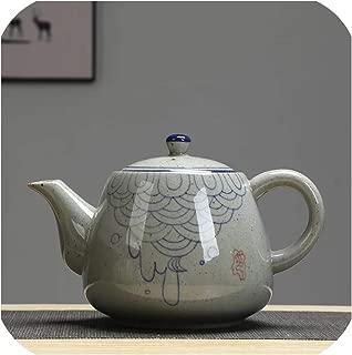 Ceramic Large Teapot With Handle Vintage Hand painted Blue and white Porcelain Filter Teapot 900ml Restaurant Pot,C