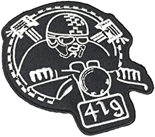 Patch Portal Cafe Racer 4 Inches Vintage Biker Embroidered Patches Black and White Ace Outlaw Chopper Motorcycle MC Club Rocker Emblem Badge Logo Appliques Iron on Men Tshirts Jacket Vest Hoodie Jeans
