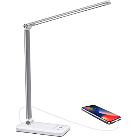 Lámpara Escritorio LED, 5 * 10 Modos de Brillo con 52 SMD Leds Lámparas de Mesa USB Recargable con Temporizador, Plegable Flexo de Lámpara de Oficina Control Táctil Cuidado Ocular para Estudio Lectura