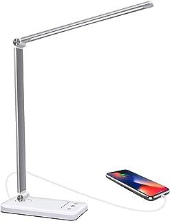 Lámpara Escritorio LED,5 * 10 Modos de Brillo con 52 SMD Leds Lámparas Mesa Cable De Alimentación USB, Plegable Flexo de Escritorio Control Táctil, Protege a ojos