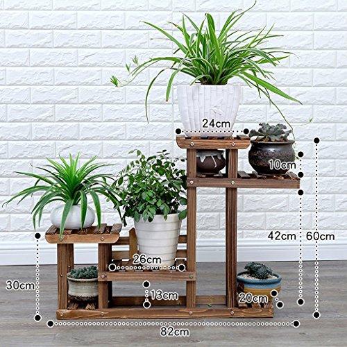 Stand d'usine Type de sol en bois massif extérieur simple multi-couche extérieure de type de jardin Étagère à fleurs à plusieurs niveaux (taille : 82 * 20 * 60cm)