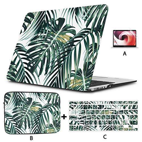 Mac Book Pro Cover Tropical Palm Leaves Jungle Leaves Cover for Laptop Hard Shell Mac Air 11'/13' Pro 13'/15'/16' with Notebook Sleeve Bag for MacBook 2008-2020 Version