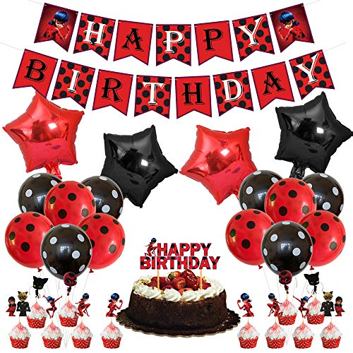 Daohexi Accesorios de fiesta de Ladybug, 38 piezas para decoración de fiesta de cumpleaños, incluye pancartas de Ladybug, globos de látex, globos de papel de aluminio y adornos para tartas