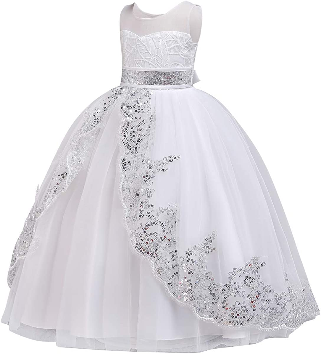 Flowers Girls Embroidery Tulle Sequin Lace Junior Wedding Party Maxi Dress Communion Princess Pageant Dance Evening Gowns