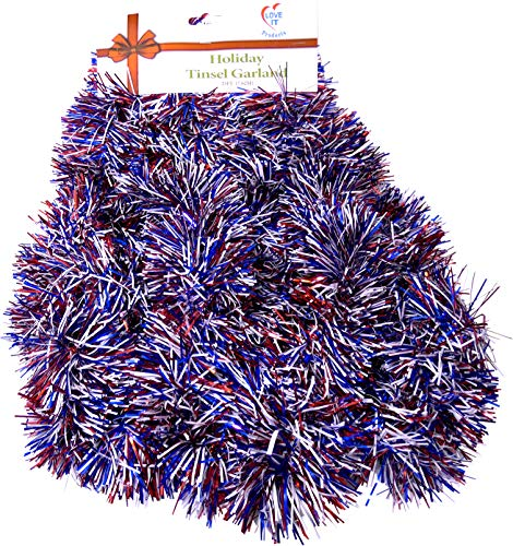 1 Strand Patriotic, Super Ultra Lush Extra Thick Multi-Layer Foil Tinsel Garland: 4th of July, National Holiday, Birthday, Celebration, Party, Special Event. 25 Ft. Long. Colors: Red, White & Blue