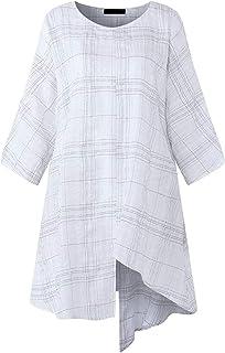 MK988 Women Irregular Plus Size 3/4 Sleeve Retro Loose Plaid Print Shirt Blouse Top