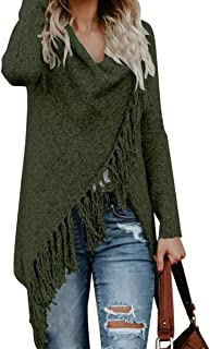 Women's Tassel Hem Sweater Long Cardigan Knitwer Pullover Poncho Coat