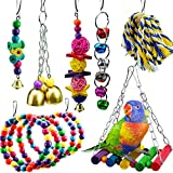 1899 7 Packs Bird Swing Chewing Toys-Parrot Hanging Bell Cage Hammock Toy Parrot Cage Toy Bird Perch with Wood Beads Hanging, Rope Perch Birdcage Stands for Parakeets Cockatiels Conures